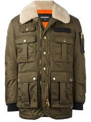 Dsquared2 Multi Pocket Puffer Jacket Green