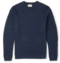 Oliver Spencer Lima Stitched Cotton Blend Jersey Sweatshirt Blue