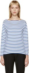 Saint Laurent Blue And White Striped T Shirt