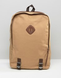 Racing Green Canvas Backpack With Leather Look Trims Tan