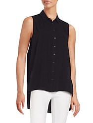 Saks Fifth Avenue Red Button Front Hi Lo Top Black