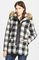 Joie 'Roni River' Buffalo Check Coat With Faux Fur Trim Caviar Porcelain