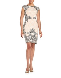 Maggy London Brocade Sheath Dress Coral
