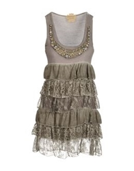 Vintage Jewels Short Dresses Light Brown