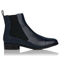 Lk Bennett L.K. Ronia Low Heeled Chelsea Boots Navy Leather