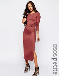 Asos Petite City Maxi Dress With Long Sleeves And Waist Detail Paprika Red