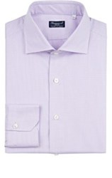 Finamore Men's Gingham Cotton Dress Shirt Light Purple