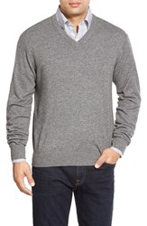 Men's Peter Millar High Twist Cashmere V Neck Sweater Charcoal