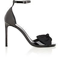 Saint Laurent Women's Bow Embellished Patent Leather Jane Sandals Blue