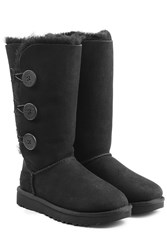 Ugg Australia Bailey Button Triple Suede And Sheepskin Boots Black