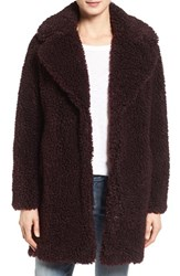 Kensie Women's 'Teddy Bear' Notch Collar Faux Fur Coat Wine