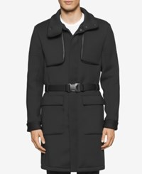 Calvin Klein Men's Belted Jacket With Faux Leather Trim Black