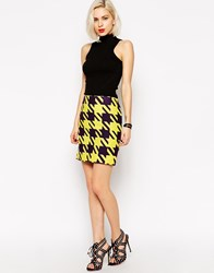L.A.M.B. L.A.M.B Large Houndstooth Mini Skirt Purple