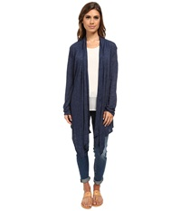 Allen Allen Open Cardigan Lapis Women's Sweater Navy