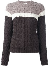 P.A.R.O.S.H. Colour Block Cable Knit Sweater Brown