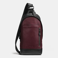 Coach Manhattan Sling Pack In Sport Calf Leather Black Antique Nickel Oxblood Gr