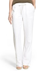 Women's Caslon Drawstring Linen Pants White