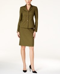Le Suit Melange Three Button Skirt Hunter