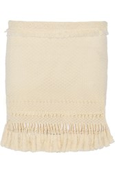 Isabel Marant Tifen Tasseled Cotton Blend Mini Skirt White