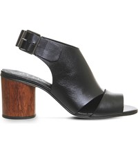 Office Mojito Leather Cylindrical Heeled Sandals Black Leather