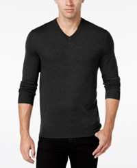 Club Room Men's Big And Tall Merino Wool V Neck Sweater Only At Macy's Ebony Heather