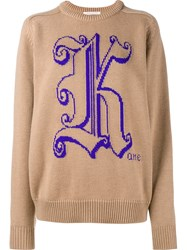 Christopher Kane Logo Detail Knitted Sweater Nude And Neutrals