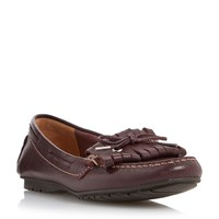 Episode Grainee Leather Fringe Bow Loafers Burgundy