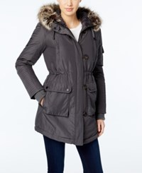 Bcbgeneration Faux Fur Trim Hooded Puffer Parka Charcoal