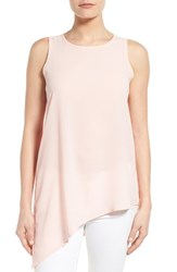 Women's Gibson Sleeveless Asymmetrical Hem Top Pink Peach