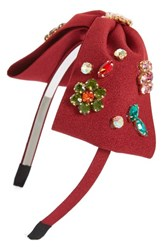 Cara Embellished Bow Headband Burgundy