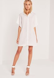 Missguided Kimono Sleeve Shirt Dress Cream Ivory