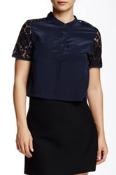 Rebecca Taylor Short Sleeve Silk And Lace Crop Top Blue
