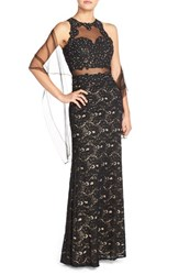Women's Betsy And Adam Illusion Embellished Lace Gown And Shawl