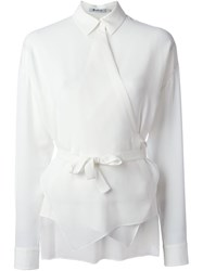 T By Alexander Wang Wrap Style Shirt White