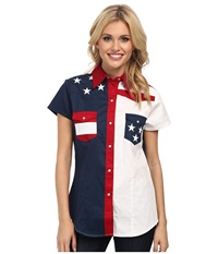 Roper Americana Pieced Color Block Top Blue Women's Long Sleeve Button Up