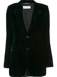 Saint Laurent 'Angie' Velvet Blazer Green
