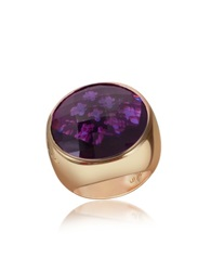 Rebecca Tropezienne Round Amethyst Hydrothermal Stone Ring Gold