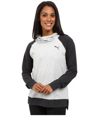 Puma High Life Hoodie Light Gray Heather Dark Gray Heather Women's Sweatshirt White