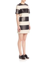 Marc Jacobs Colorblock Short Sleeve Leather Dress Black Ivory