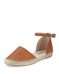 Neiman Marcus Made In Spain Sabrina Leather Espadrille Flat Cognac Red