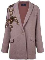 Etro Sequined Ribbed Cardi Coat Pink And Purple