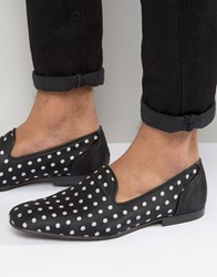 Asos Loafers In Black With Polka Dot Embroidery Black Silver