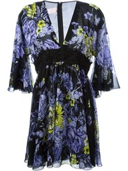 Giamba Flared Floral Print Dress Black