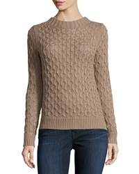 Neiman Marcus Open Stitch Cable Knit Pullover Sweater Toasty Tau