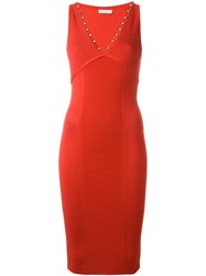 Versace Collection Studded Bodycon Dress Red