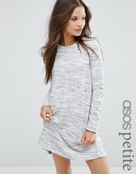 Asos Petite Casual Swing Sweat Dress In Space Dye Multi