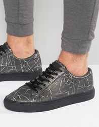 Religion Cracked Print Trainers Black