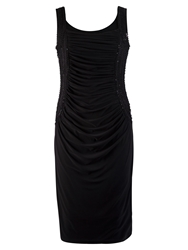 Chesca Ruched Beaded Bodice Dress Black