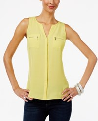 Inc International Concepts Split Neck Zip Pocket Top Only At Macy's Sunray