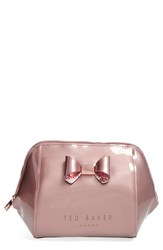 Ted Baker London 'Large Glitter Bow' Cosmetics Case Pink